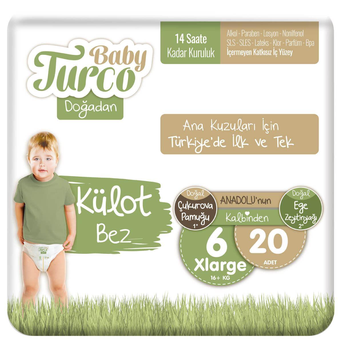 Baby Turco Doğadan Külot Bez 6 Numara Xlarge 20 Adet