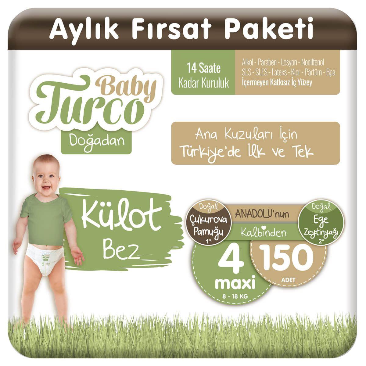 Baby Turco Doğadan Külot Bez 4 Numara Maxi 150 Adet