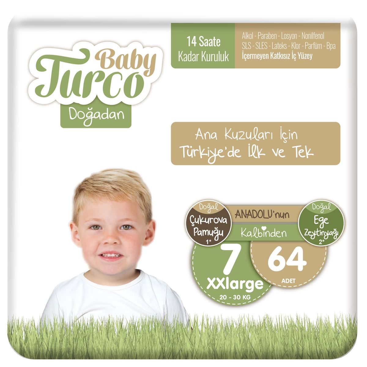 Baby Turco Doğadan 7 Numara Xxlarge 64 Adet