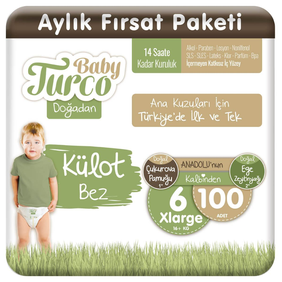 Baby Turco Doğadan Külot Bez 6 Numara Xlarge 100 Adet