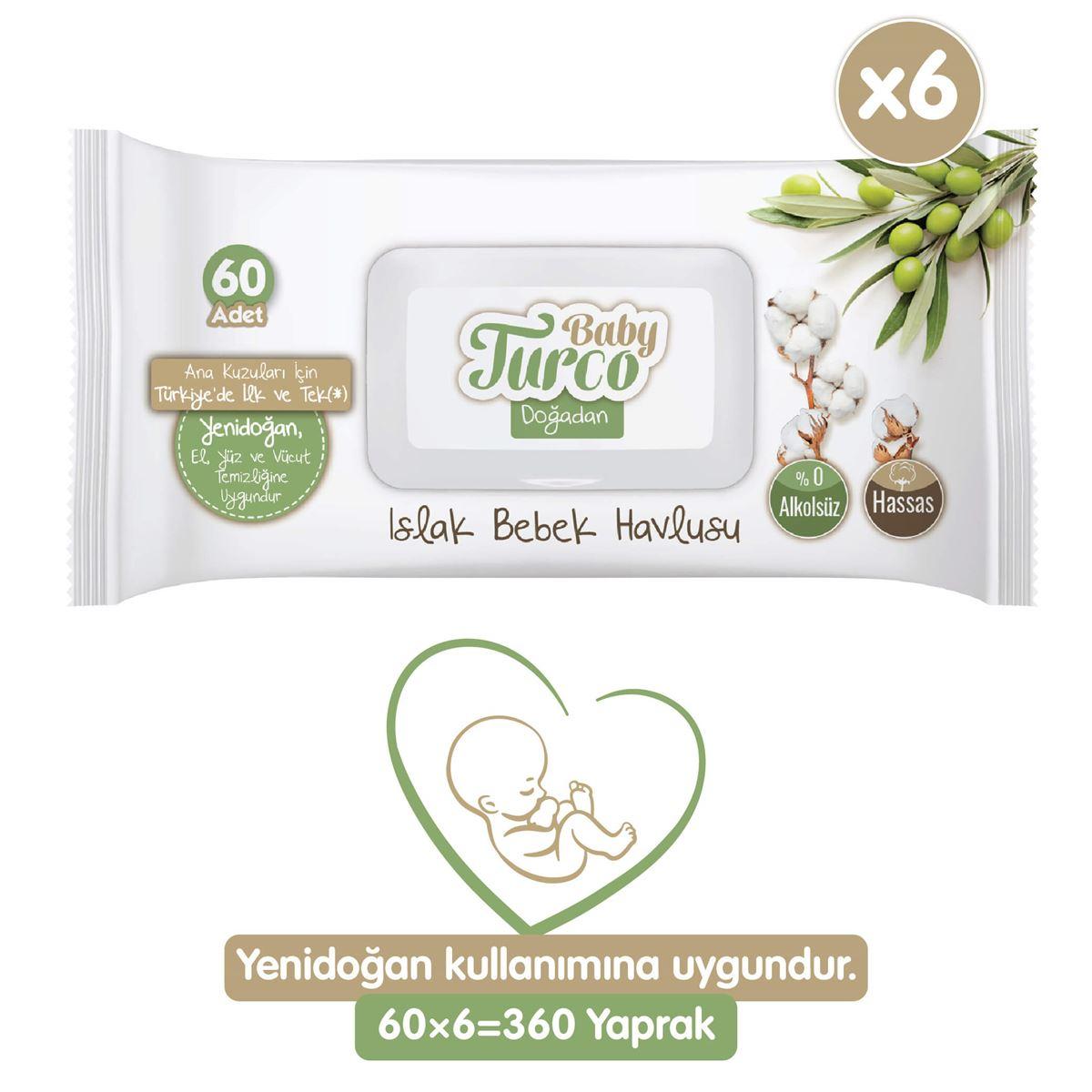 Baby Turco Doğadan Yenidoğan Islak Bebek Havlusu 6X60 Yaprak