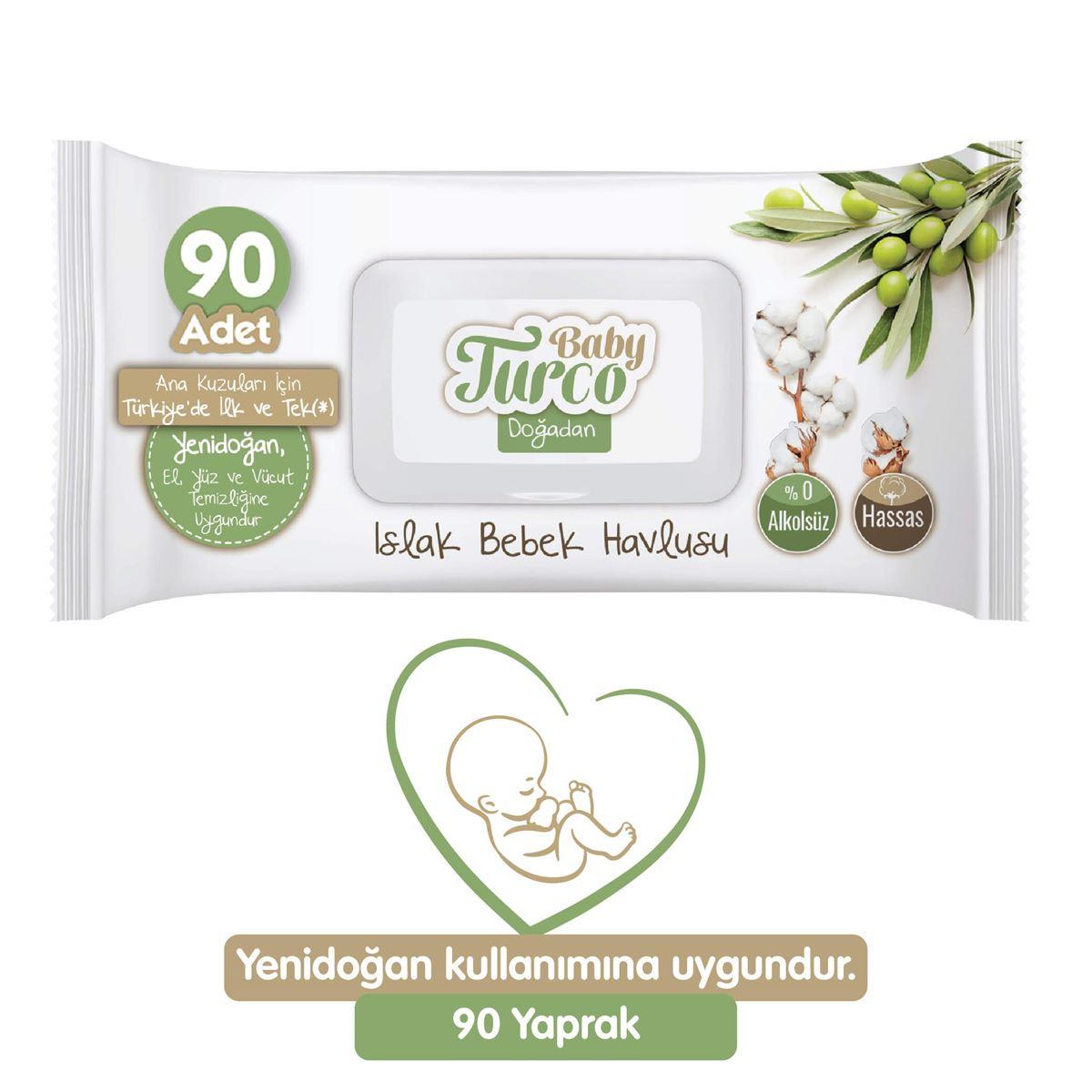 Baby Turco Doğadan Yenidoğan Islak Bebek Havlusu 90 Yaprak