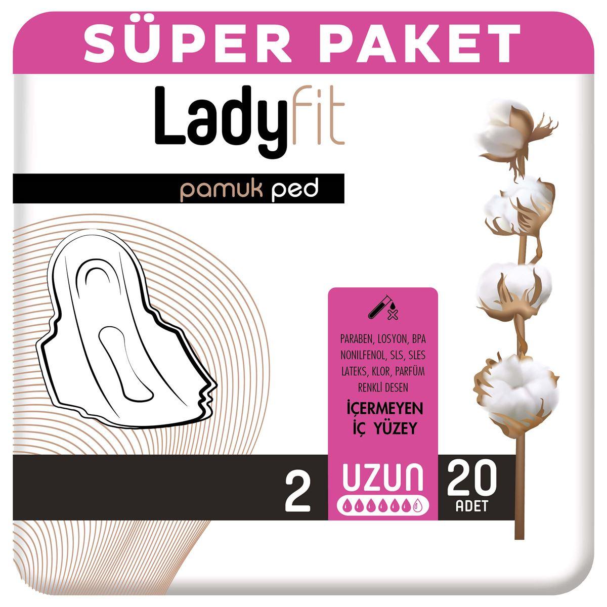 Ladyfit Pamuk Ped Süper Uzun 20 Ped