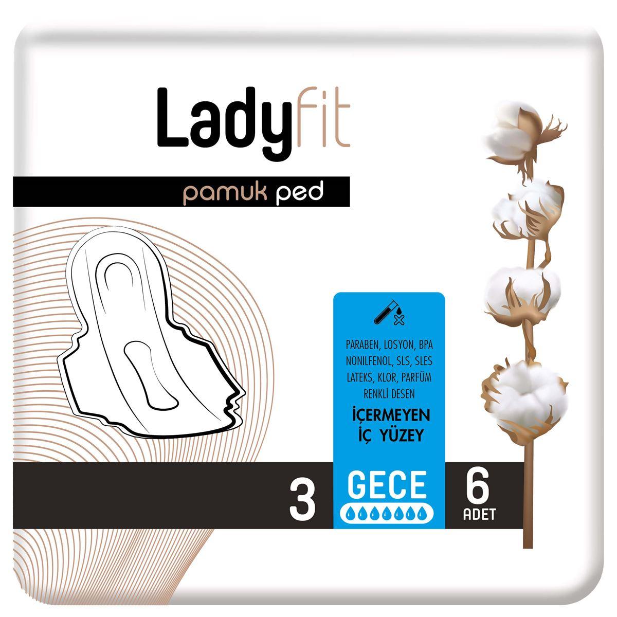 Ladyfit Pamuk Ped Standart Gece 6 Ped