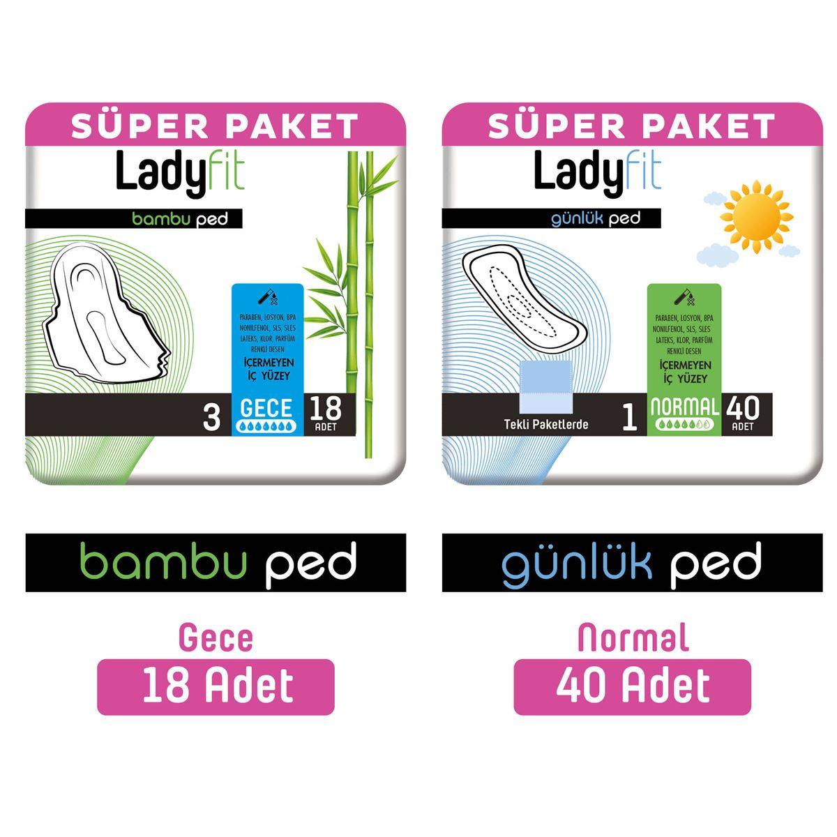 Ladyfit Bambu Ped Süper Gece 18 Adet + Günlük Ped Süper Normal 40 Adet
