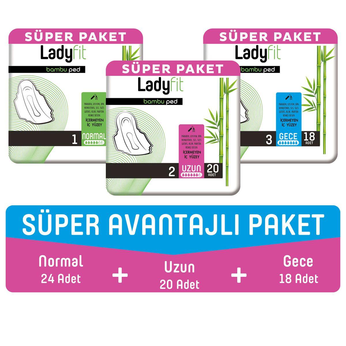 Ladyfit Bambu Ped Süper Avantajlı Paket (Normal 24 Adet + Uzun 20 Adet + Gece 18 Adet)