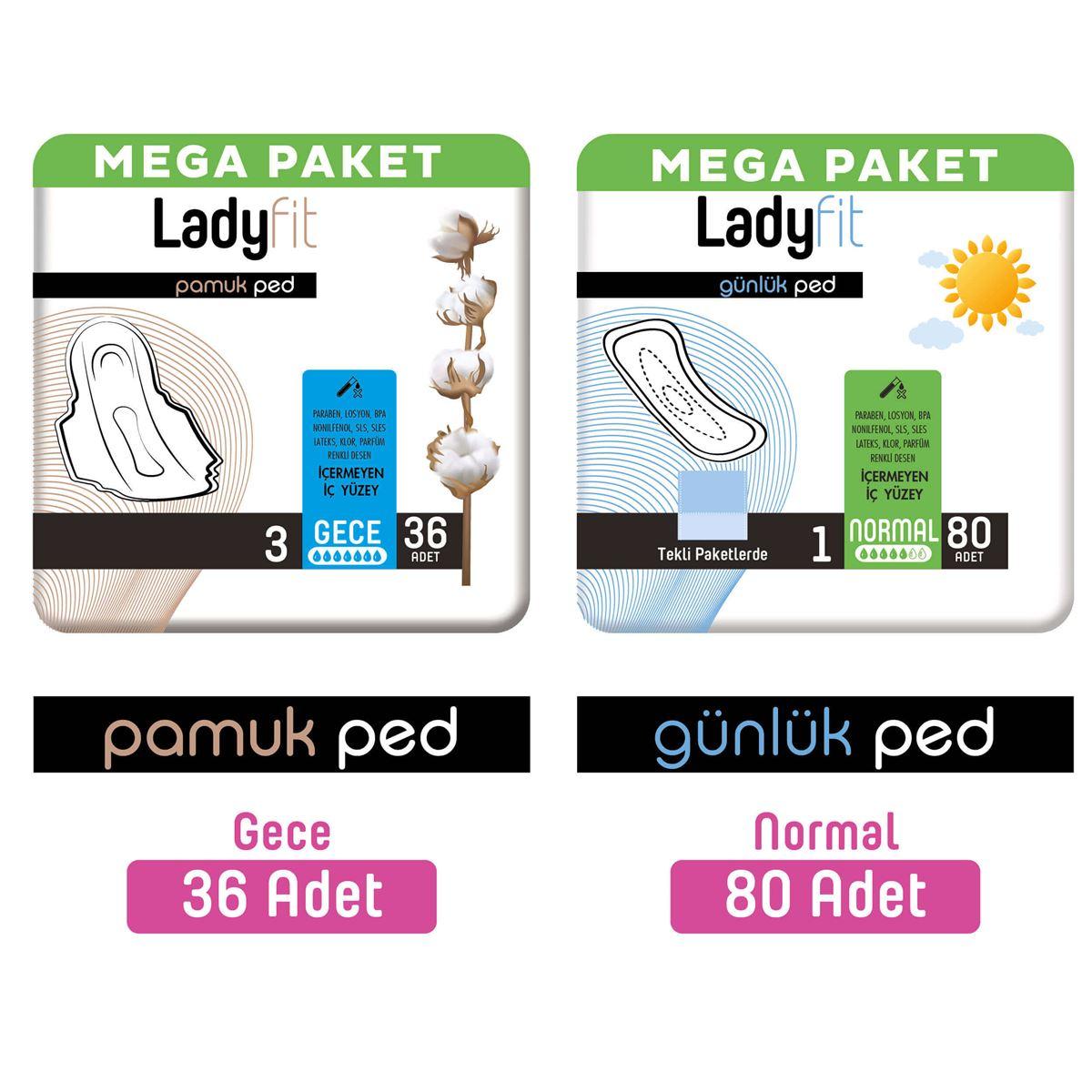 Ladyfit Pamuk Ped Mega Gece 36 Adet + Günlük Ped Mega Normal 80 Adet