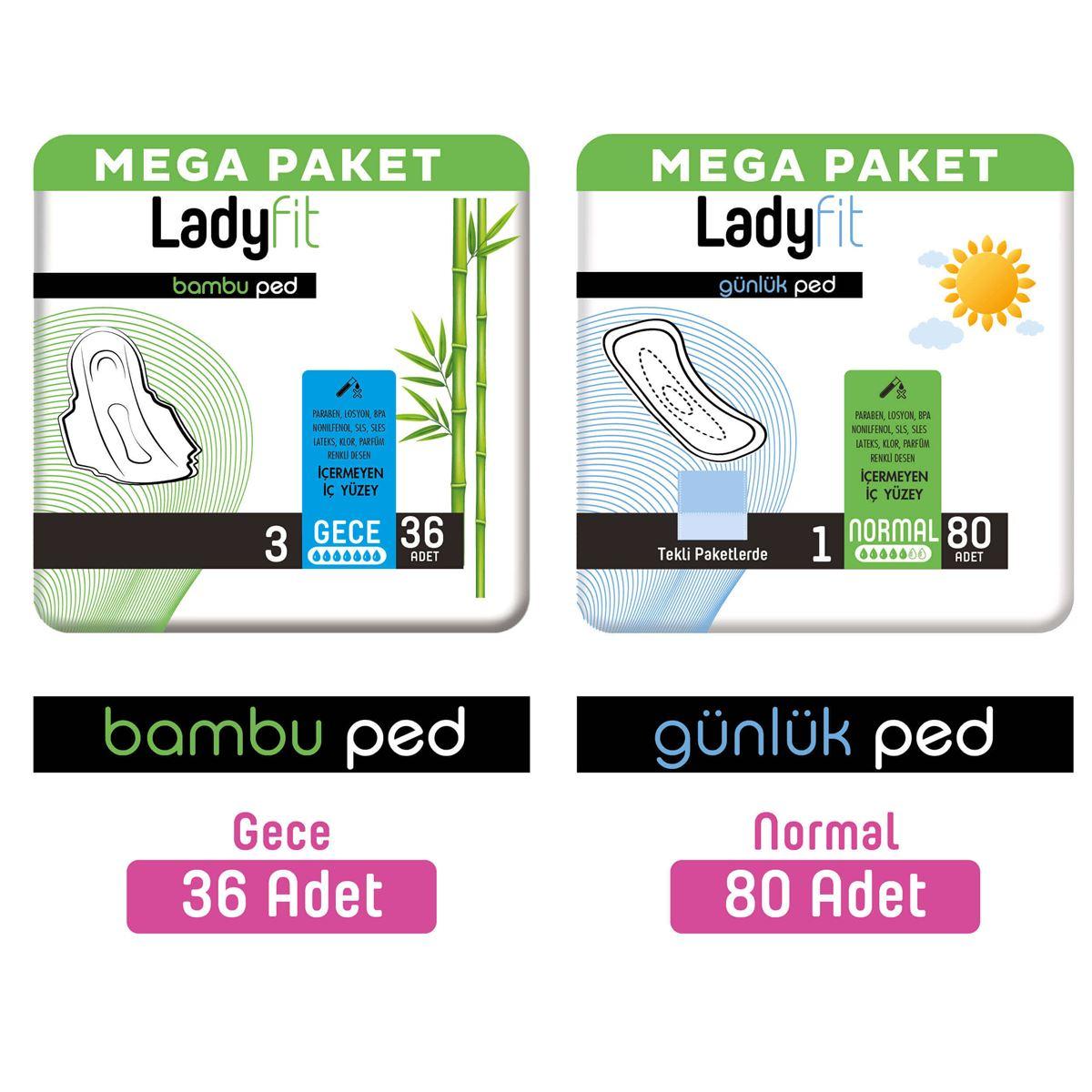 Ladyfit Bambu Ped Mega Gece 36 Adet + Günlük Ped Mega Normal 80 Adet