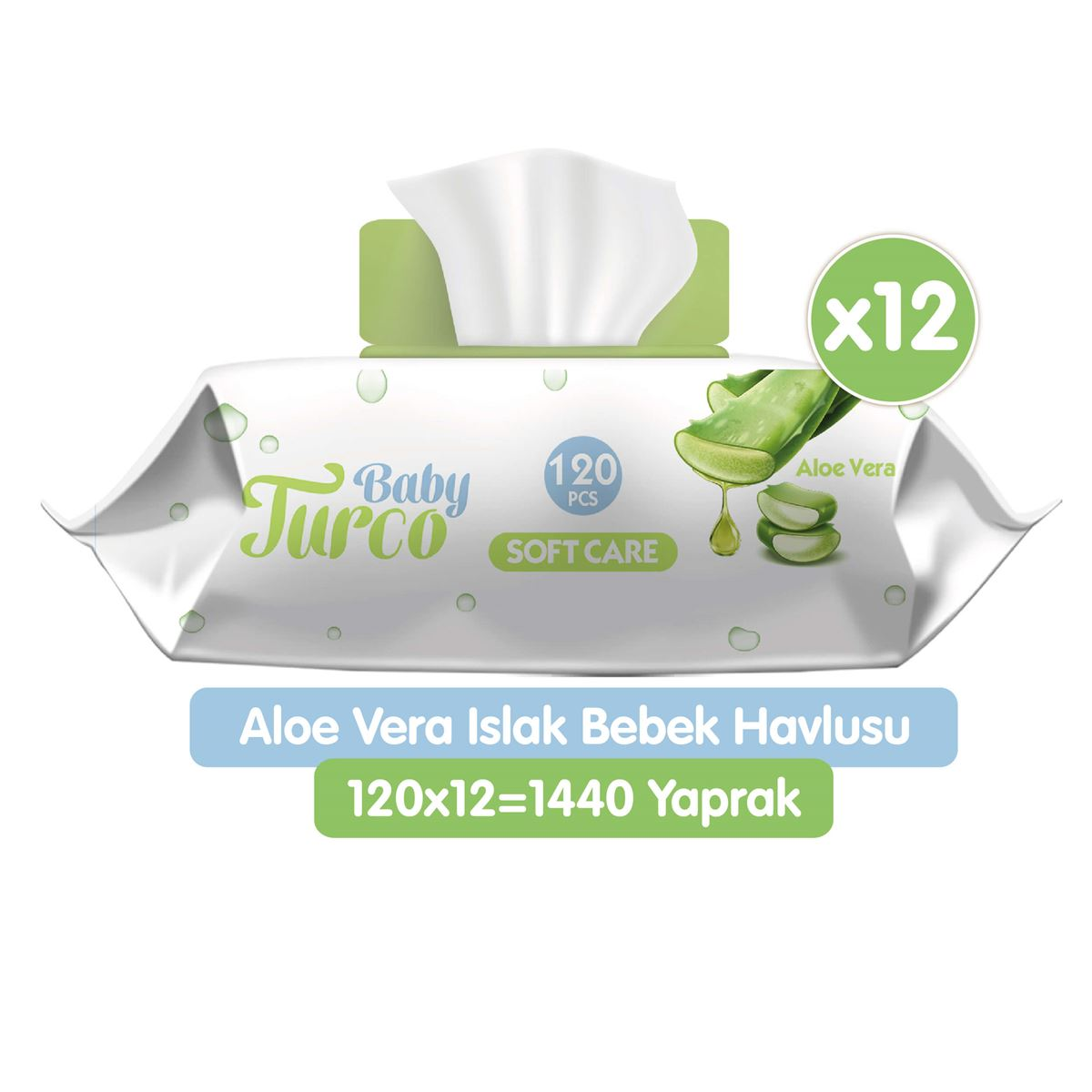 Baby Turco Softcare Aloe Vera Islak Bebek Havlusu 12x120 Adet