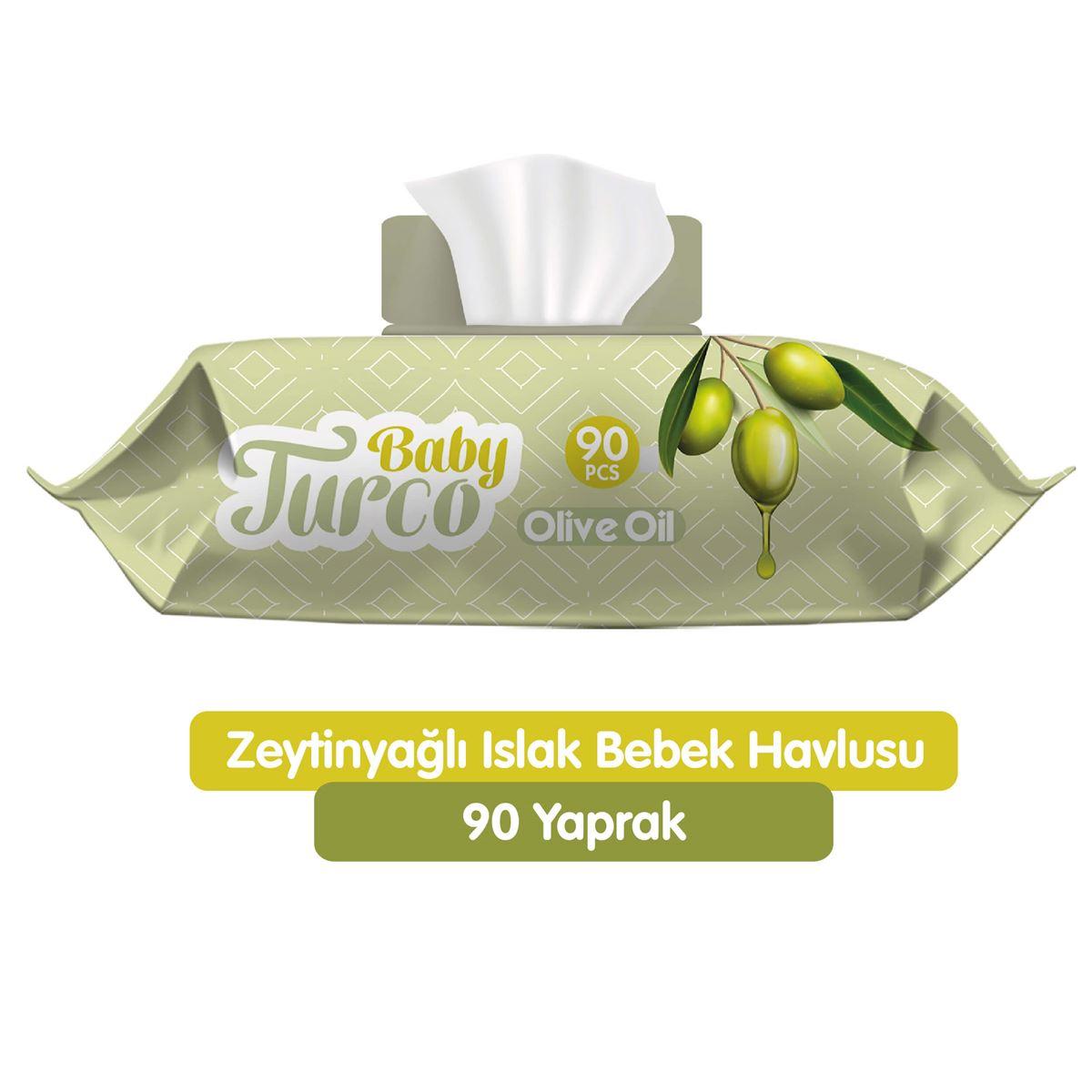 Baby Turco Zeytinyağlı Islak Bebek Havlusu 90 Adet