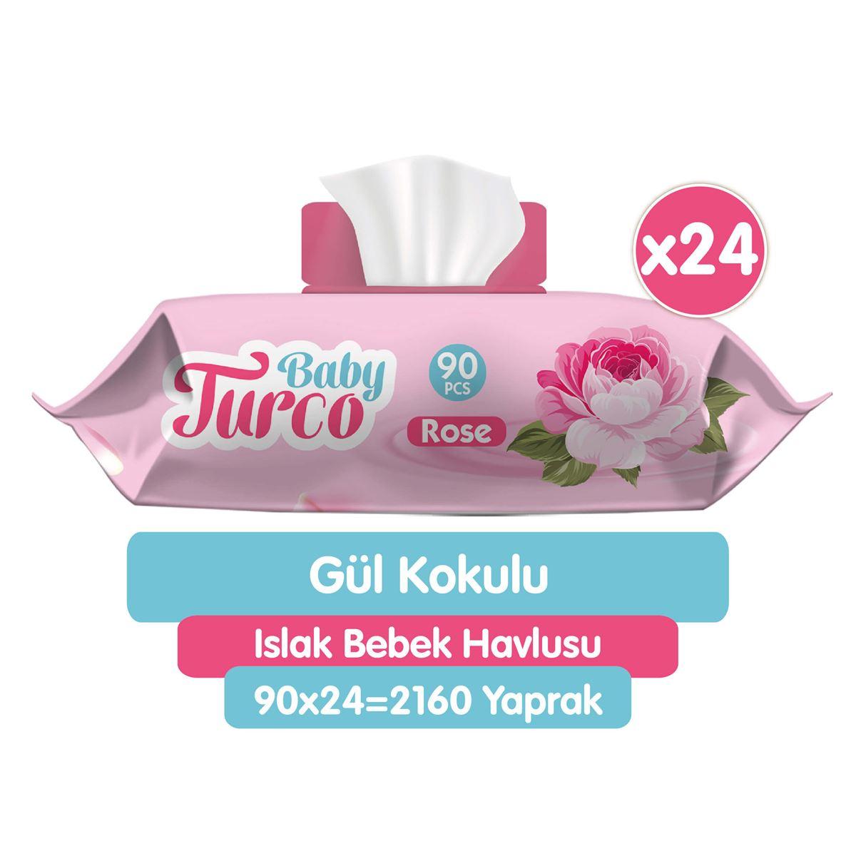 Baby Turco Gül Kokulu Islak Bebek Havlusu 24x90 Adet