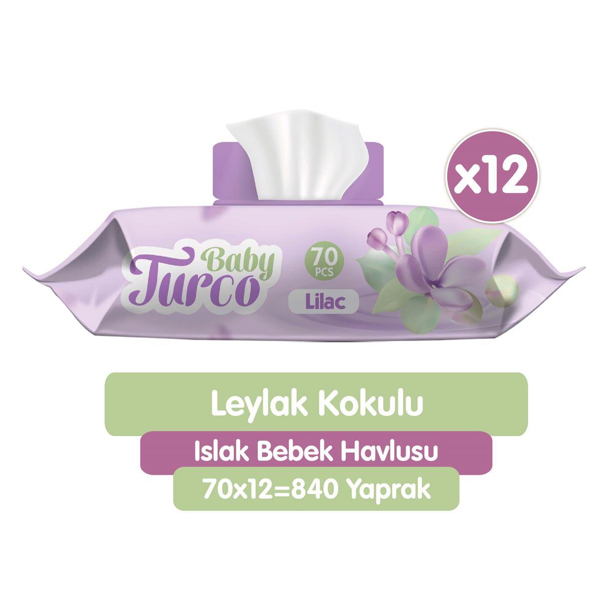Baby Turco Leylak Kokulu Islak Bebek Havlusu 12x70 Adet