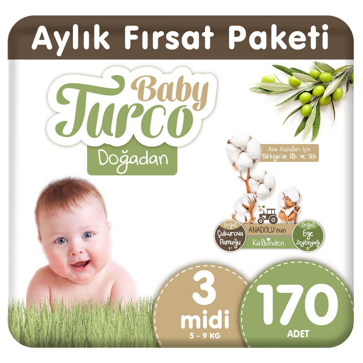 Baby Turco Doğadan 3 Numara Midi 170 Adet