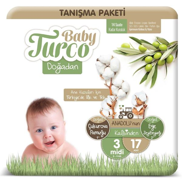 Baby Turco Doğadan 3 Numara Midi Tanışma Paketi 17 Adet