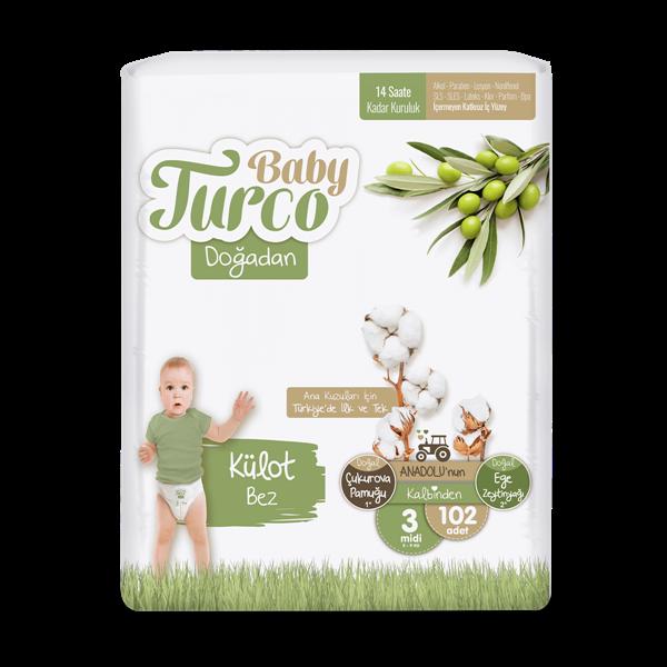 Baby Turco Doğadan Külot Bez 3 Numara Midi 102 Adet