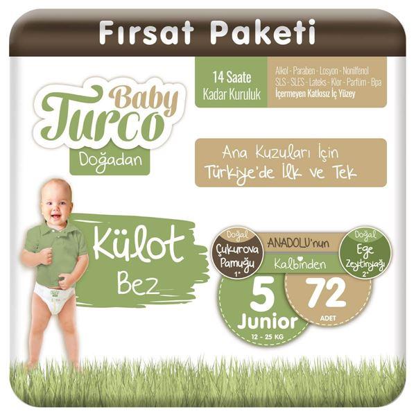 Baby Turco Doğadan Külot Bez 5 Numara Junıor 72 Adet