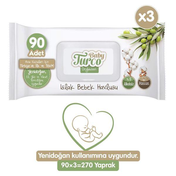 Baby Turco Doğadan Yenidoğan Islak Bebek Havlusu 3X90 Yaprak