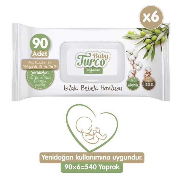 Baby Turco Doğadan Yenidoğan Islak Bebek Havlusu 6X90 Yaprak