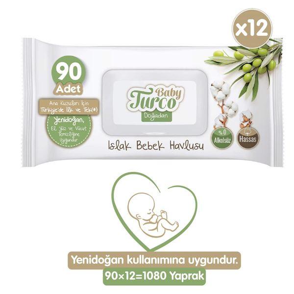 Baby Turco Doğadan Yenidoğan Islak Bebek Havlusu 12X90 Yaprak