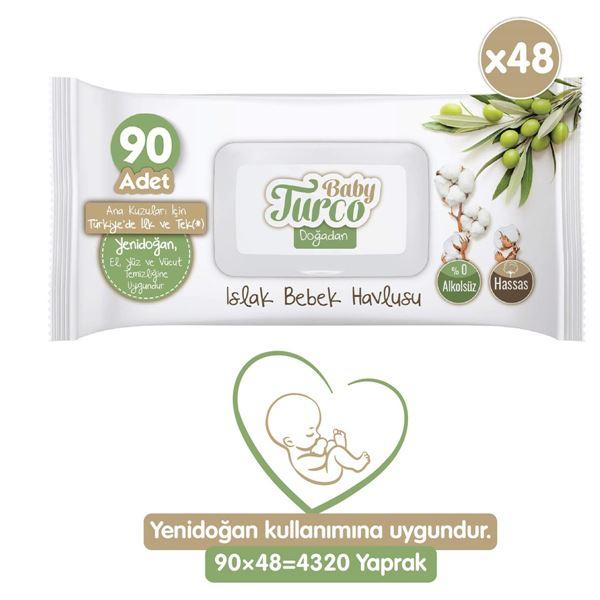 Baby Turco Doğadan Yenidoğan Islak Bebek Havlusu 48X90 Yaprak