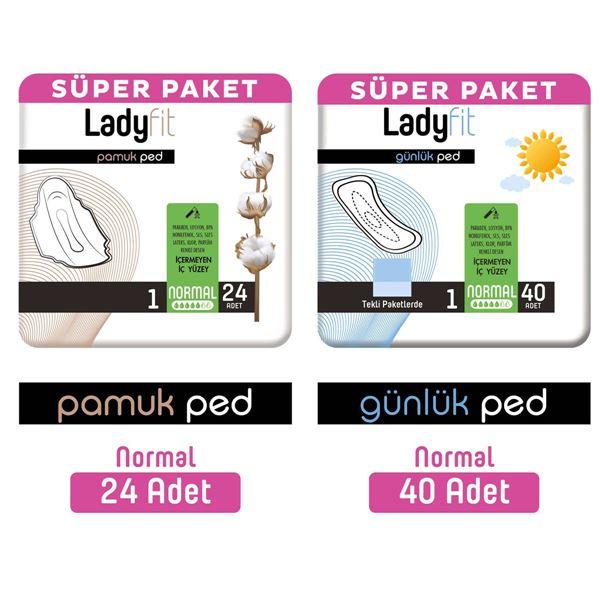 Ladyfit Pamuk Ped Süper Normal 24 Adet + Günlük Ped Süper Normal 40 Adet