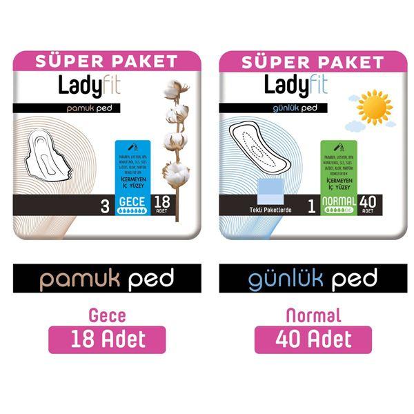 Ladyfit Pamuk Ped Süper Gece 18 Adet + Günlük Ped Süper Normal 40 Adet