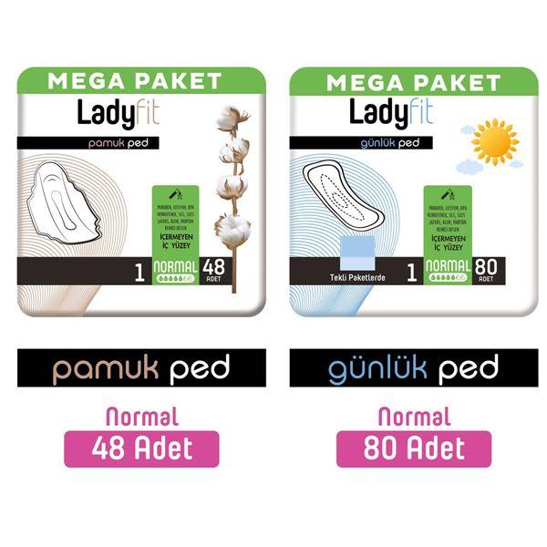 Ladyfit Pamuk Ped Mega Normal 48 Adet + Günlük Ped Mega Normal 80 Adet