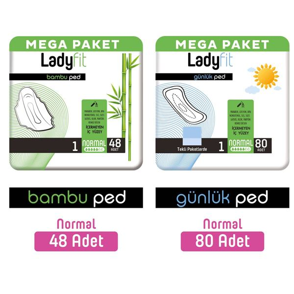 Ladyfit Bambu Ped Mega Normal 48 Adet + Günlük Ped Mega Normal 80 Adet
