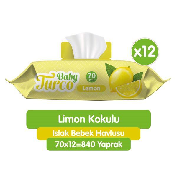 Baby Turco Limon Kokulu Islak Bebek Havlusu 12x70 Adet